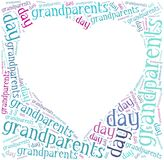 Tag or word cloud grandparents day related in shape of hearth Royalty Free Stock Photo