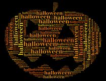 Tag or word cloud halloween related in shape of carved pumpkin Royalty Free Stock Photos