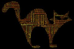 Tag or word cloud halloween related in shape of cat Royalty Free Stock Photo