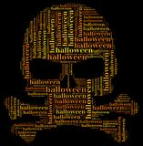 Tag or word cloud halloween related in shape of skull Royalty Free Stock Image