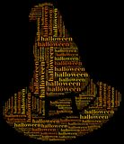Tag or word cloud halloween related in shape of witch hat Royalty Free Stock Photo