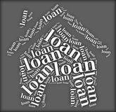Tag or word cloud loan related in shape of house. Tag cloud loan related in shape of house Stock Photo