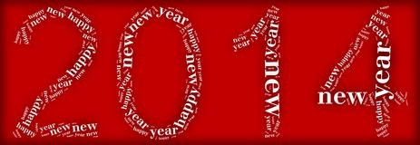 Tag or word cloud new year eve related in shape of 2014 number Royalty Free Stock Images