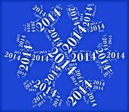 Tag or word cloud new year eve related in shape of snowflake Stock Photos