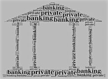 Tag or word cloud private banking related in shape of bank Royalty Free Stock Images