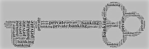 Tag or word cloud private banking related in shape of key. Tag or word cloud private banking related Stock Photography