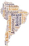 Tag or word cloud South America countries related Royalty Free Stock Photo