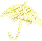 Tag or word cloud sun protection related in shape of umbrella Royalty Free Stock Photo