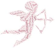 Tag or word cloud Valentine's Day related in shape of cupid Royalty Free Stock Photo