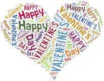 Tag or word cloud Valentine's Day related in shape of heart Stock Images