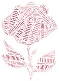 Tag or word cloud Valentine's Day related in shape of rose Royalty Free Stock Photos