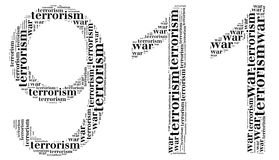 Tag or word cloud war or terrorism related in shape of 911 Stock Photos