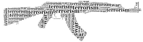 Tag or word cloud war or terrorism related in shape of ak-47. Tag cloud war or terrorism related in shape of ak-47 or Kalashnikov machinegun Royalty Free Stock Photos