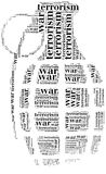 Tag or word cloud war or terrorism related in shape of grenade Stock Images