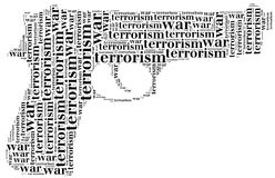 Tag or word cloud war or terrorism related in shape of pistol Royalty Free Stock Photo