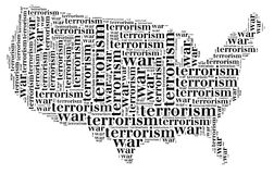 Tag or word cloud war or terrorism related in shape of USA Royalty Free Stock Photography