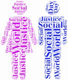 Tag or word cloud World Day of Social Justice related Royalty Free Stock Image