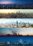 Tag zum kombinierten Satz Nacht-Kuala Lumpur-Stadtbilds lizenzfreie stockbilder