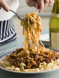 Tagaliatelle with Ragu Sauce Stock Photos
