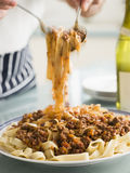 Tagaliatelle with Ragu Sauce Royalty Free Stock Photography