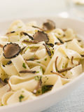 Tagaliatelli with Sliced Black Truffles Stock Images