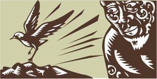 Tagaloa Looking at Plover Bird Woodcut Stock Photos