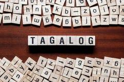 Tagalog słowa pojęcie na sześcianach zdjęcie stock
