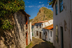 Taganana village in the Anaga Rural Park, Tenerife island. Small treet in Taganana village in the Anaga Rural Park, Tenerife, Canary Islands royalty free stock photography