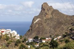 Taganana village. On the island of Tenerife, Canary Islands Spain. You can see the ocean in the background stock photography