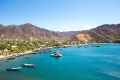 Taganga Bay with the traditional fishing boats Stock Photography