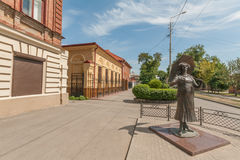 Taganrog: the monument to the actress Faina Ranevskaya on the streets Royalty Free Stock Photos