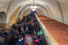 Taganskaya metro station at rush hour in Moscow Royalty Free Stock Images