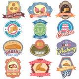 Tagaufkleber gebackene Lebensmittel und des Bäckereiaufklebers für Anzeige vektor abbildung