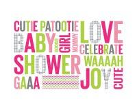 Tagcloud: baby douche voor een meisje Stock Foto