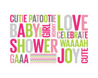 Tagcloud: baby shower for a girl. A Tagcloud with different words reffering to a baby girl shower vector illustration