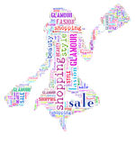Tagcloud on consumerism. Wordcloud: Silhouette of a happy woman with shopping royalty free illustration