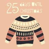 25 Tage bis Weihnachtsvektorillustration +EPS Zählimpuls die Tage 'bis Weihnachtstafel stock abbildung