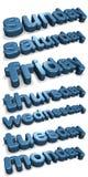 Tage der Woche (englisch) Lizenzfreie Stockbilder