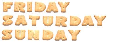 Tage der Woche werden von den Plätzchen gebildet stockbild