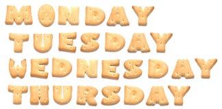 Tage der Woche werden von den Plätzchen gebildet lizenzfreies stockfoto