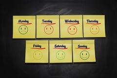 Tage von Wochen-Stock-Anmerkungen Lizenzfreie Stockfotografie