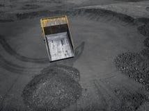 Tagebaubergwerk, mineralgewinnende Industrie f?r Kohle, Draufsichtluftbrummen lizenzfreies stockbild