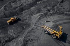 Tagebaubergwerkindustrie, großer gelber Bergbau-LKW für Kohle, Draufsichtantenne stockbilder