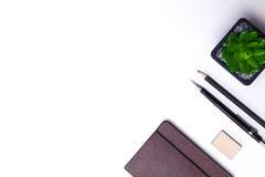 Tagebuch, Bleistifte und Kaktus auf dem Desktop Lizenzfreies Stockbild
