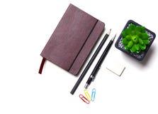 Tagebuch, Bleistifte und Kaktus auf dem Desktop Stockfotos