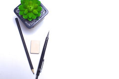 Tagebuch, Bleistifte und Kaktus auf dem Desktop Stockbild