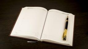 Tagebuch und Füllfederhalter Stockbilder