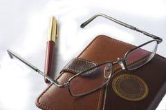 Tagebuch und Feder Lizenzfreies Stockfoto