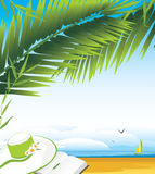 Tagebuch und Frauhut unter einer Palme breitet sich aus Stockfotografie