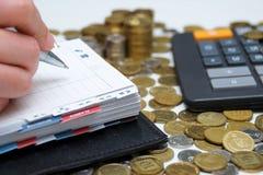 Tagebuch und Geld Lizenzfreie Stockfotos